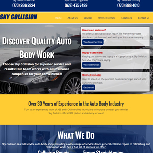 atlanta bodyshop website design screenshot