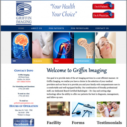 imaging company website design screenshot